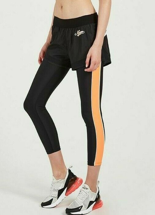 P.E Nation Women's Small Black Two-in-One Performance Leggings Long Lift Pants