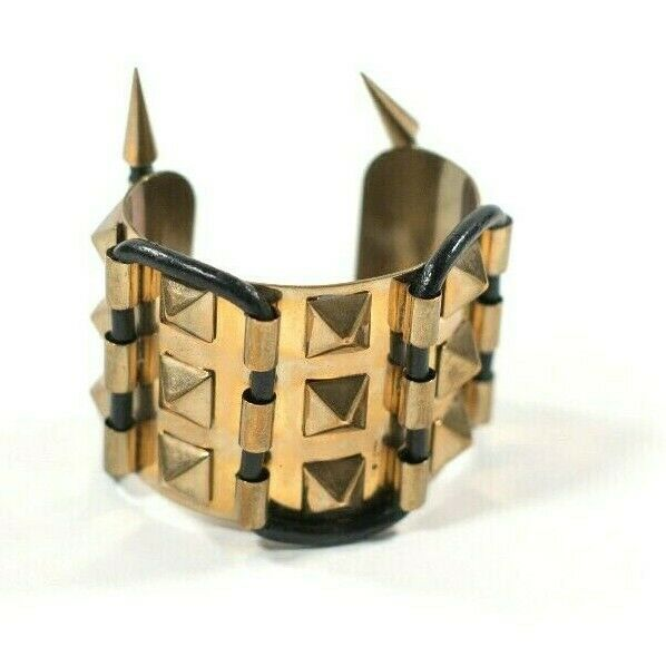 Fallon Womens Gold Black Bracelet Labyrinth Maze Cuff Leather Pyramid Spike Stud