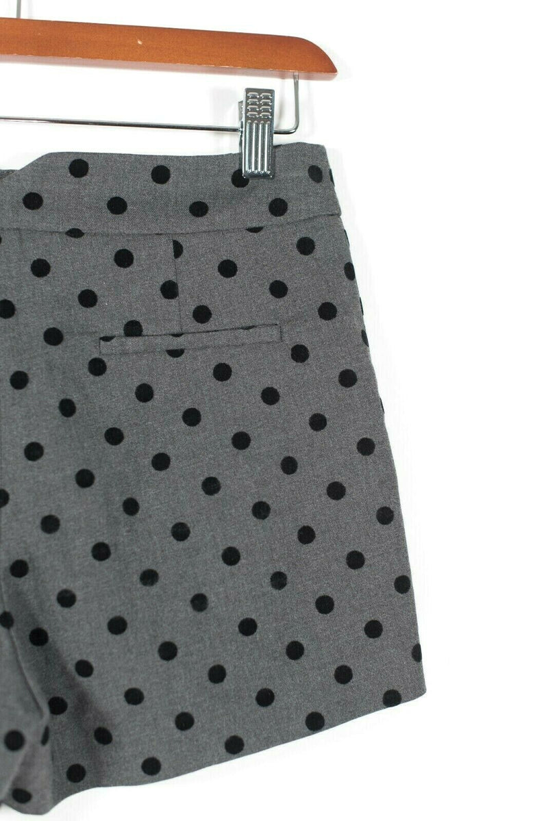 Naf Naf Womens 36 4 Small Gray Black Shorts Polka Dot Slash Pleat Pocket $75