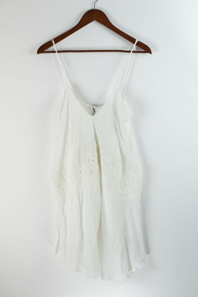 Merritt Charles Womens XS White Dress Slip Crepe Mini Strappy Lace Crochet NWT