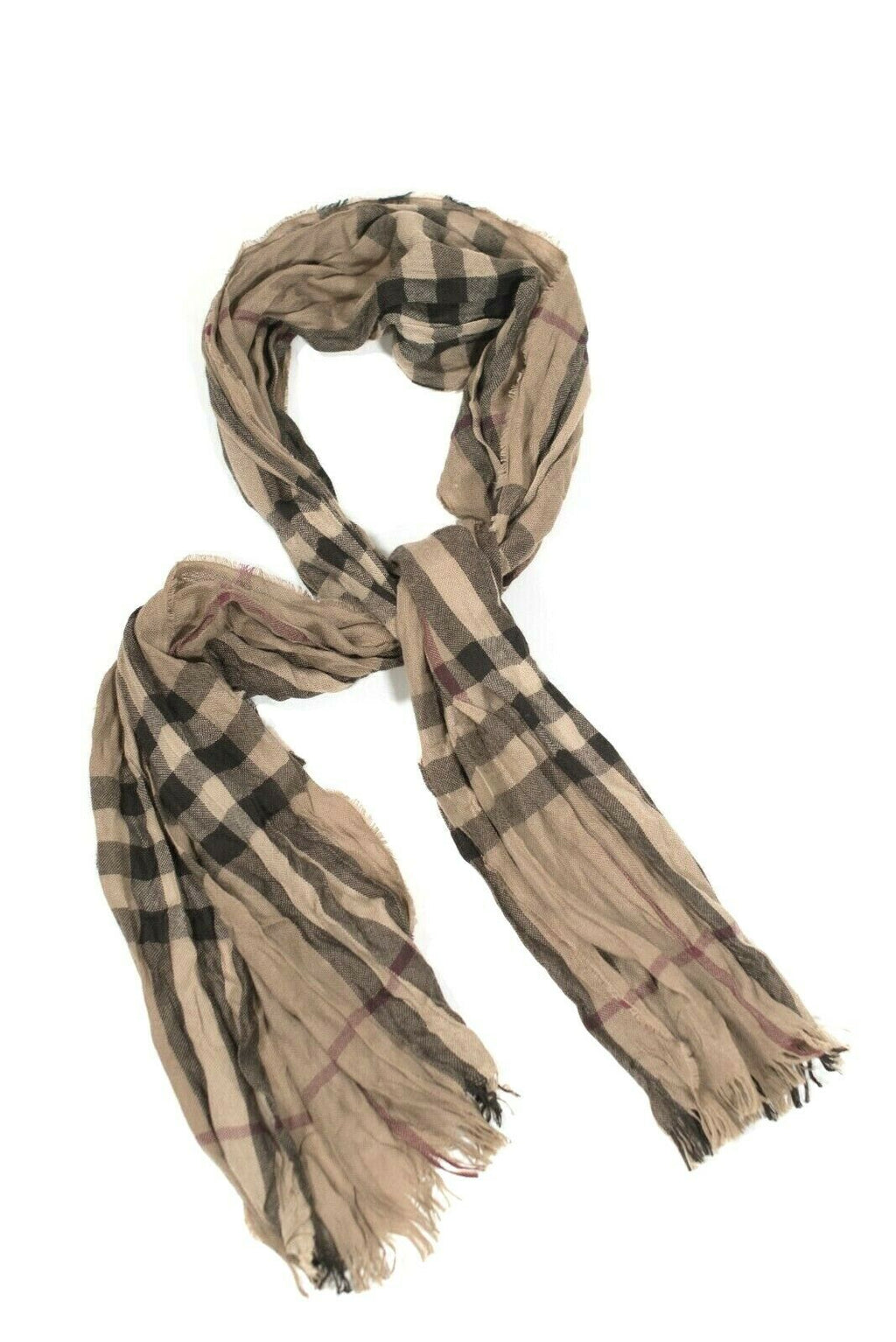 Burberry Womens Brown Black Red Scarf Classic Nova Check Crinkle Fringe Shawl