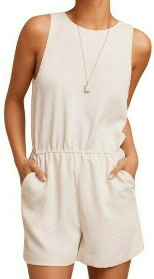Aritzia Wilfred Women's Small Ivory White Reva Romper Sleeveless Jumpsuit Shorts