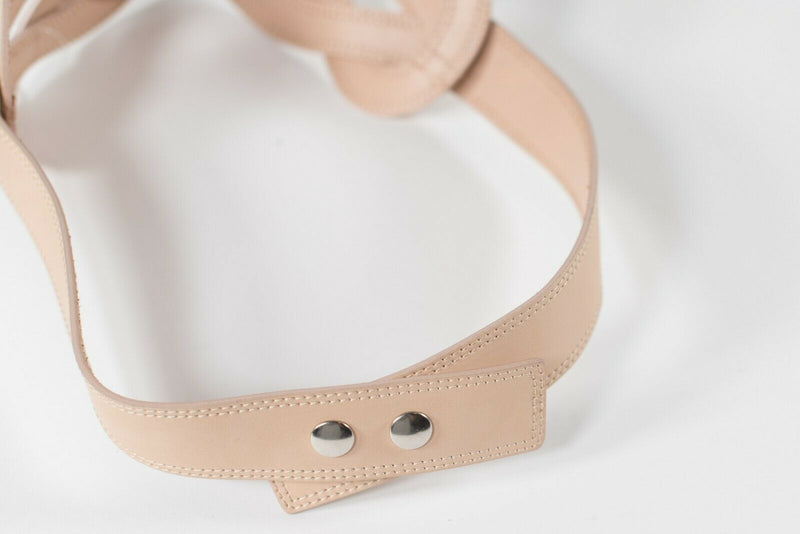 Club Monaco Women's Small Beige Waist Belt Woven Leather Snap Button Wide Belt