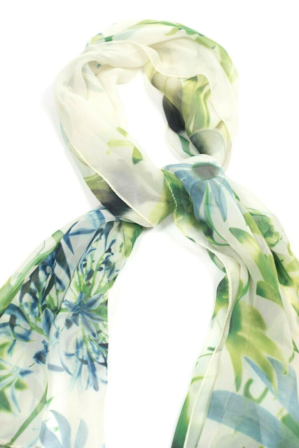 Max Mara Womens Large Ivory Green Blue Scarf Authentic Silk Sheer Floral Leaves
