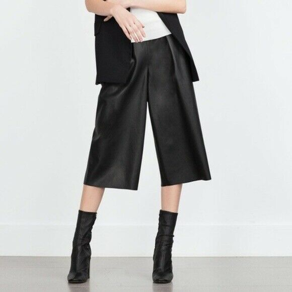 Zara Basic Womens Medium Black Pants Vegan Leather Elastic Waist Pocket Culottes
