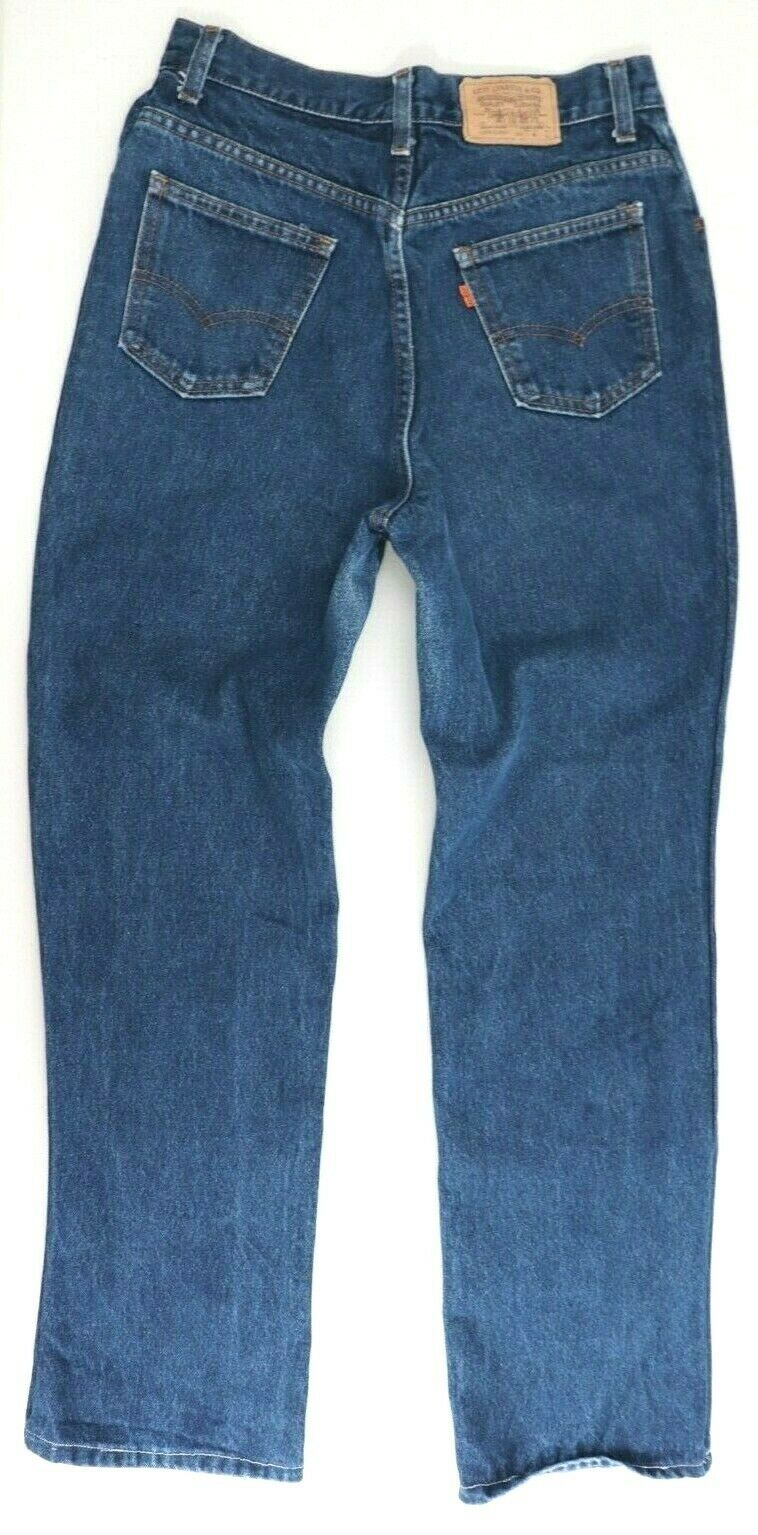 Levis Womens Size 28 Dark Blue Jeans Orange Tab Straight Leg Ascot Club Button