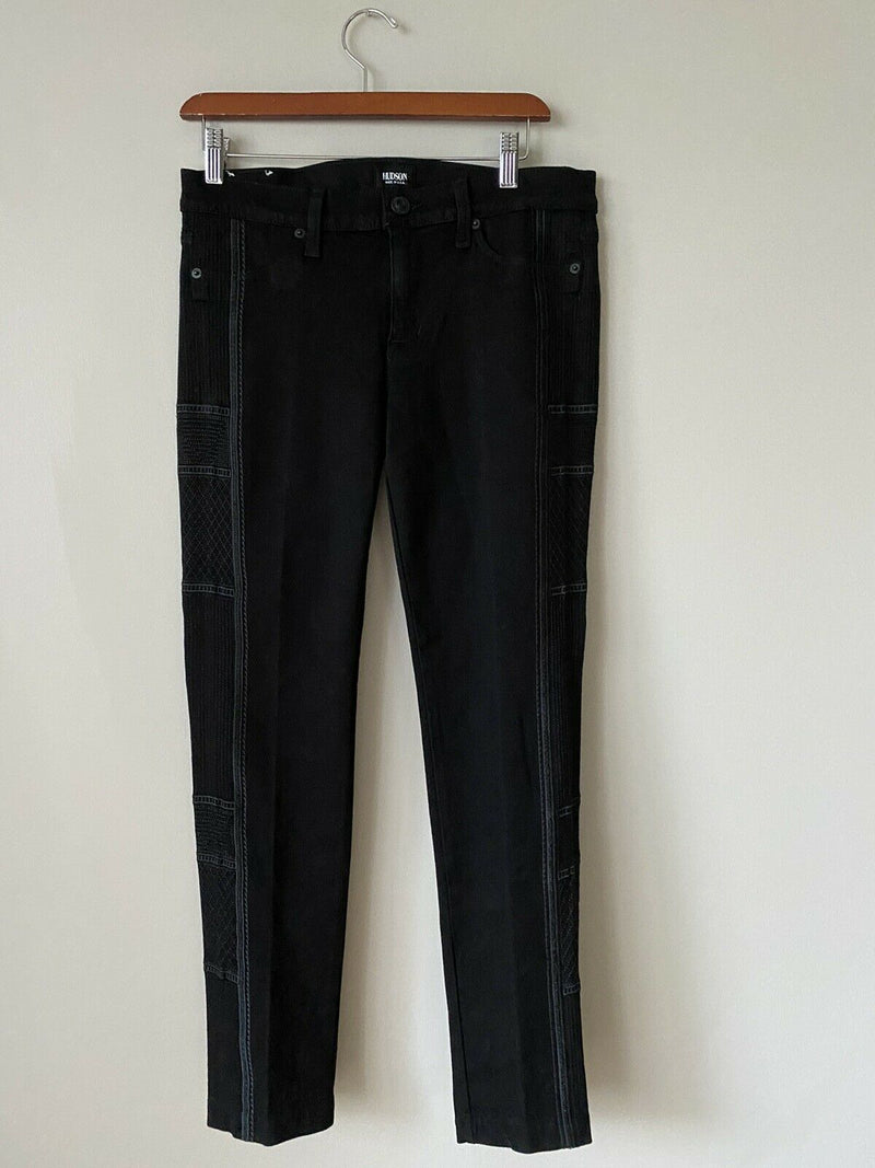 Hudson Women's Size 29 Black Tamara Skinny Jeans Embroidered Pewter Slim Denim