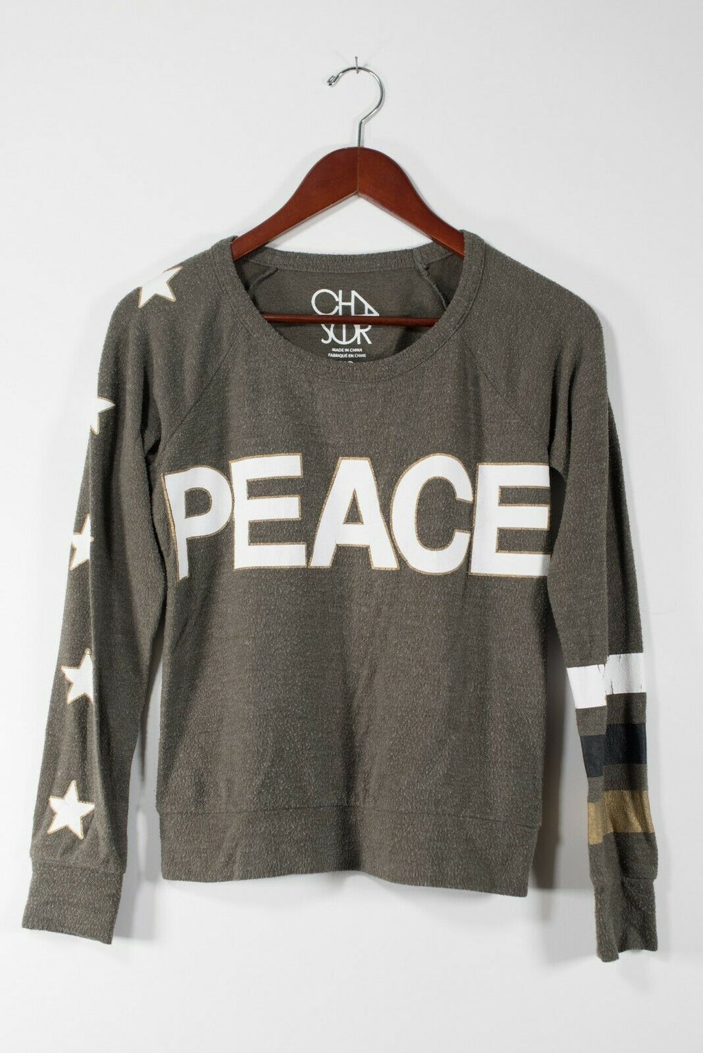 Chaser Womens Size XS Green Pullover Sweater Peace Graphic Print Star Knit Shirt