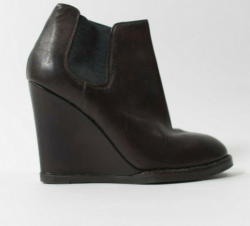 Brunello Cucinelli Womens Size 8 Brown Ankle Boots Cashmere Ribbed Wedge Booties