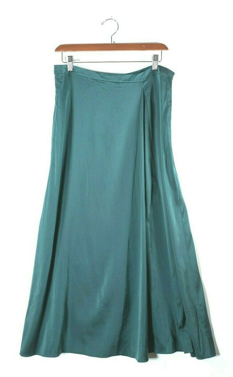 Eileen Fisher Size 8 Green Midi Slip Skirt