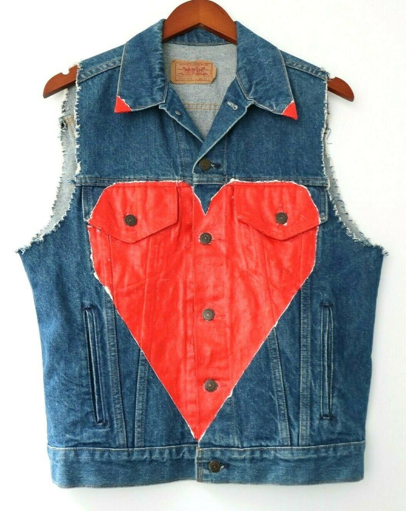 Levi's Unisex Sz 40 Trucker Vest Blue Denim 70506 0214 USA Painted