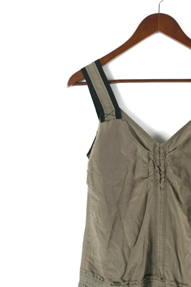 Sisley Womens Size Small Olive Green Dress Slip Dress Sleeveless Made In Italy