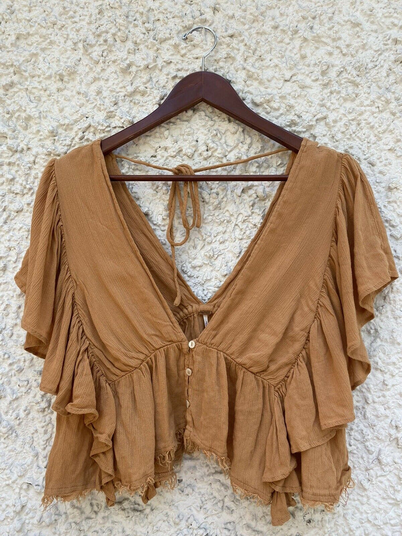 Free People Womens Small Brown Top Boho Cap Sleeves Casual Draped Blouse Shirt