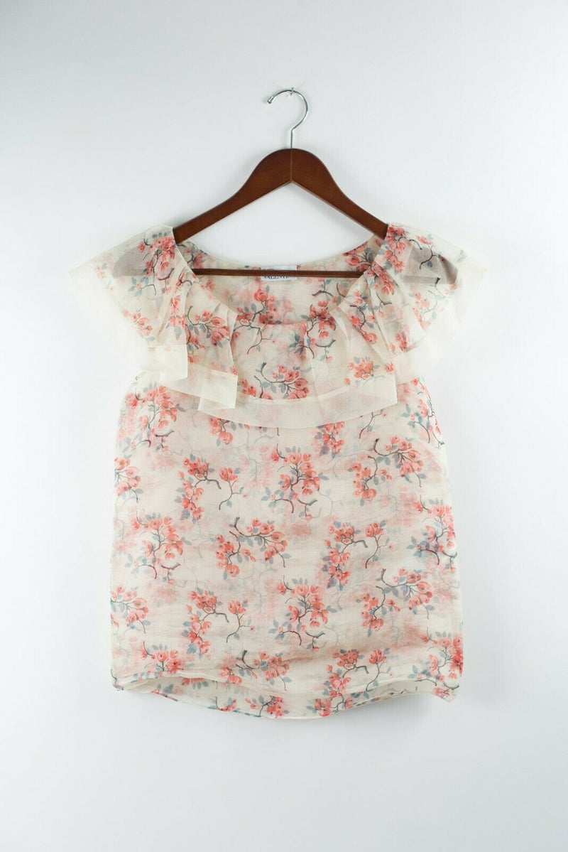 Red Valentino Womens Medium Ivory Pink Top Floral Sheer Crop Blouse Short Sleeve