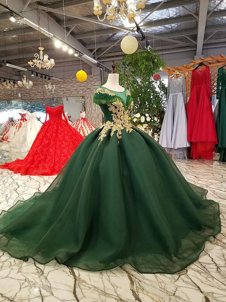e03b679727e ... Dark Green Wedding Dresses 2018 Beaded Gold Lace Tulle Lace Up Princess  Elegant Formal Gowns Plus ...