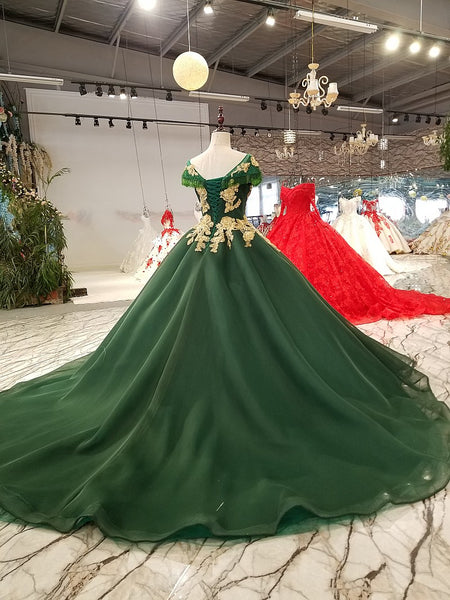 204b0a942ac ... Dark Green Wedding Dresses 2018 Beaded Gold Lace Tulle Lace Up Princess  Elegant Formal Gowns Plus