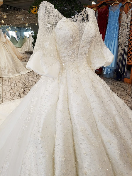 e338bd0f ... Luxury Ball Gown Wedding Dress Puffy Skirt Wave Sparkly Crystals 3/4  Sleeves Beads Sequins ...