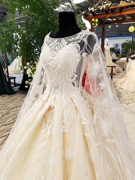 Wedding Dresses Long Sleeves With Cape Puffy Skirt Bridal Lace Ball ...