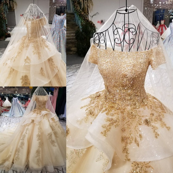 Latest Beautiful Ruffles Skirt Wedding Ball Gowns Gold Embroidery