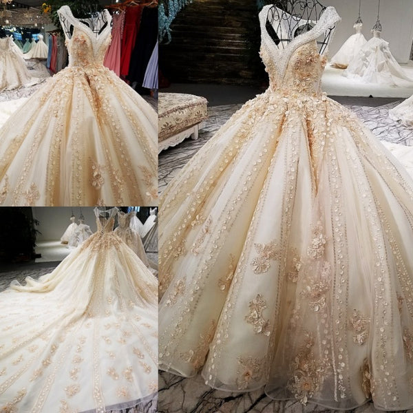 2018 Luxury wedding dress V-neck ball gown lace up back champagne ...