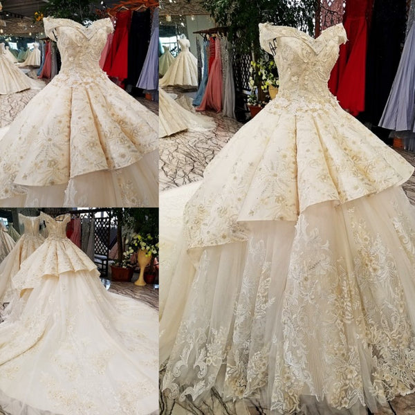 ad1860f2c433 2018 champagne off shoulder bridal gowns off custom size two layers skirt  big wedding dress with