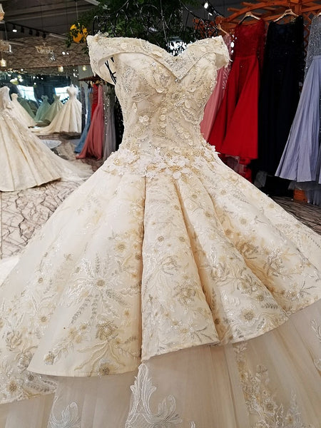 931569cc081c ... 2018 champagne off shoulder bridal gowns off custom size two layers  skirt big wedding dress with
