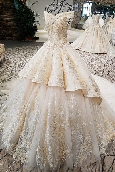 5ee497d136b7 ... 2018 champagne off shoulder bridal gowns off custom size two layers  skirt big wedding dress with ...