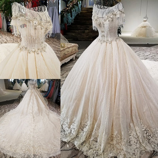 Luxury Dresses Beaded Cap Sleeve Lace Up Aliexpress Beauty Bridal