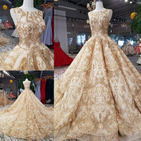 f6cf50e7707 Rose Gold Evening Dress Bling Bling Sequins Bridal Ball Gown 2018 Gold  Bridal Formal Gowns Arabic