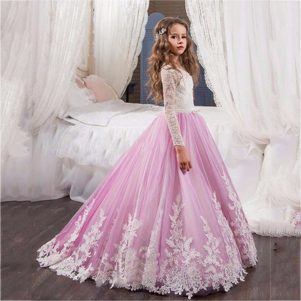 bb8114b95 Christmas Girls Pageant Dresses Sheer Neck Beaded Appliques Flower ...