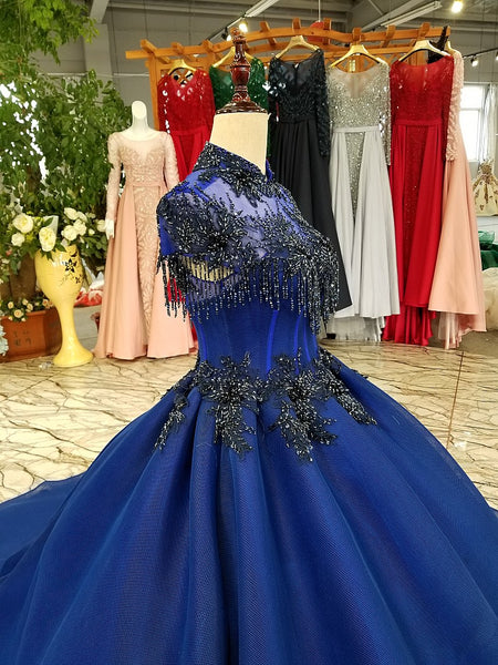 Sleeveless High End Luxury Sparkly Prom Dresses 2018 New Fashion