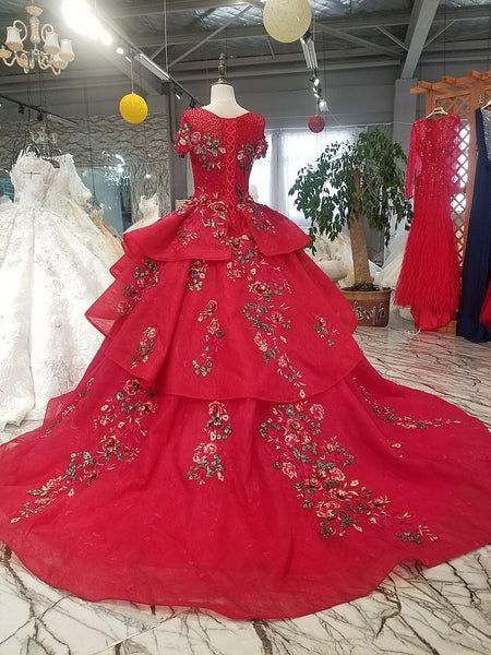 9c092eb9b4a 2018 New High-end Red Wedding Dress The Bride Married Luxury Banquet Lace  Embroidery Crystal