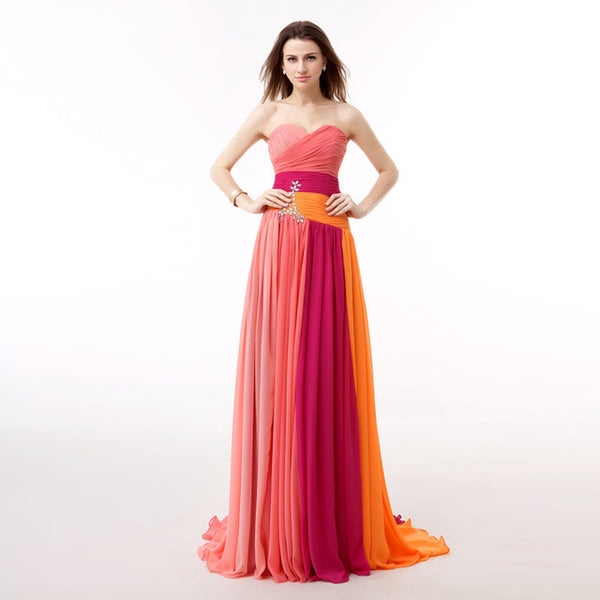 c5a04af8ee8 Real Picture Multi Colors Rainbow Prom Dress A Line Crystals Backless Long Formal  Party Gown Plus