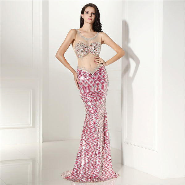 6c36637a528 2018 New Prom Dresses Mermaid Scoop Sequins Crystals See Through Elegant  Long Women Prom Gown Evening ...