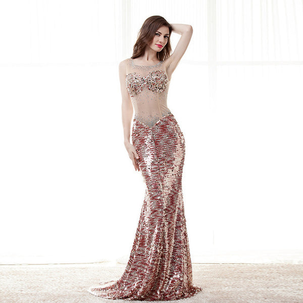 3783ef08b2c ... 2018 New Prom Dresses Mermaid Scoop Sequins Crystals See Through Elegant  Long Women Prom Gown Evening ...
