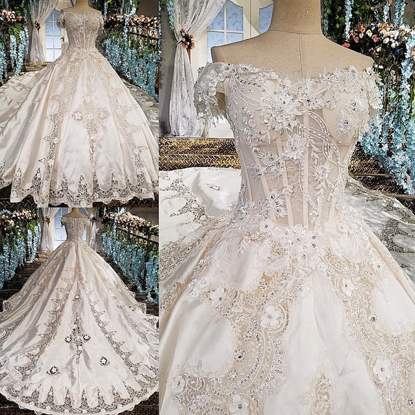 294aedaa82 ... Satin Wedding Dress Ball Gown Sweetheart Beading Short Sleeves Appliques  Court Train Lace Up Casamento Dress ...