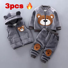 Baby clothes cotton warm suit plus velvet padded sweater hooded vest