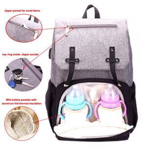 Mummy Diaper Bag USB Charging Waterproof Backpack