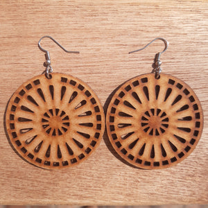 Natural Round Wood Earrings - LIV Creative
