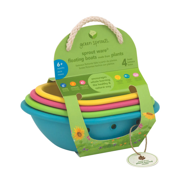 Sprout Ware Floating Boats made from Plants (4 boats)-Multicolor-6mo+