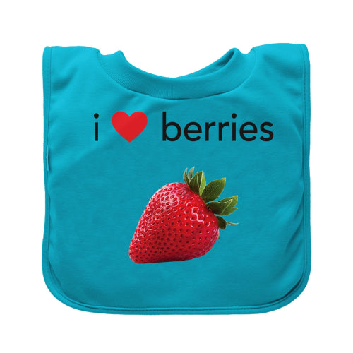 Green Sprouts Pull-over Food bib (single)-Aqua Berries-9/18mo