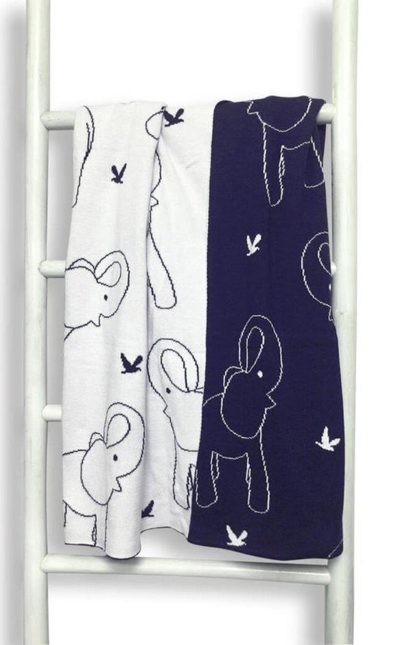 Babu Cotton blanket elephant navy/white