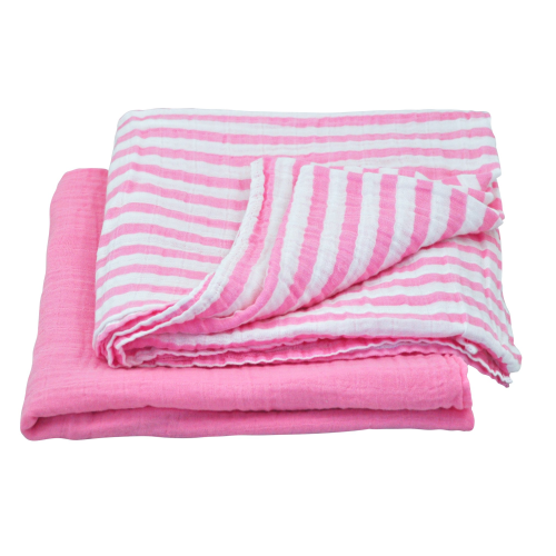 Muslin Swaddle Blanket made from Organic Cotton-Light Pink Set-44