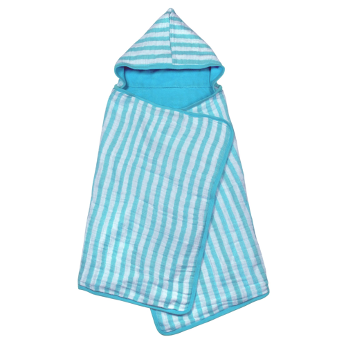 Green Sprouts Muslin Hooded Towel made from Organic Cotton-Aqua-0mo/4yr
