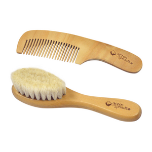 Green Sprouts Baby Brush & Comb-Natural-Adult use only