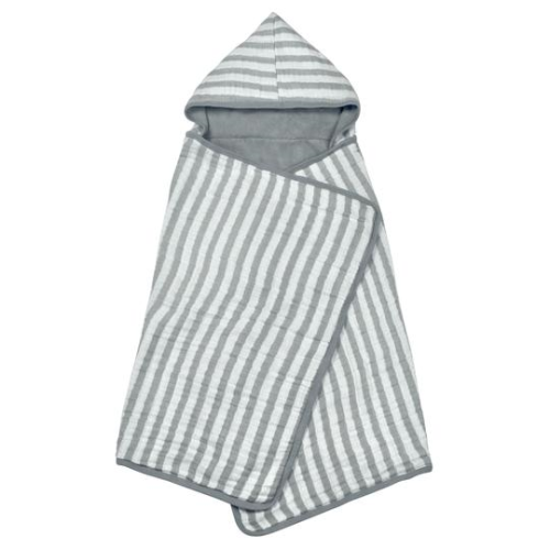 Green Sprouts Muslin Hooded Towel made from Organic Cotton-Gray-0mo/4yr