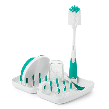 Oxo Tot On-the-Go Drying Rack & Bottle Brush - Teal