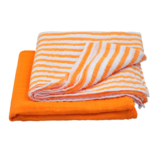 Muslin Swaddle Blanket made from Organic Cotton-Orange Set-44
