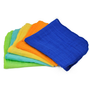 "Green Sprouts Muslin Face Cloths made from Organic Cotton (5pk)-Blue Set-12"" x 12"""