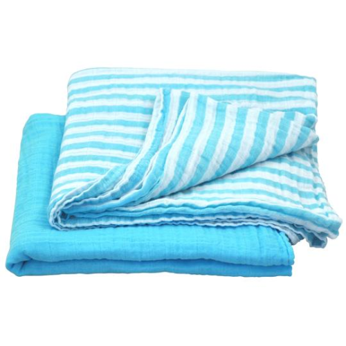 Green Sprouts Muslin Swaddle Blanket made from Organic Cotton-Aqua Set-44